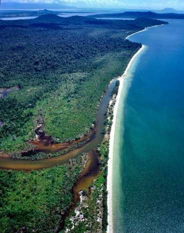 Southeast Asia, Gulf of Thailand, Ream National Park, coastal, geomorphology, tropical vegetation, aerial view, white beaches, islands, Indochina